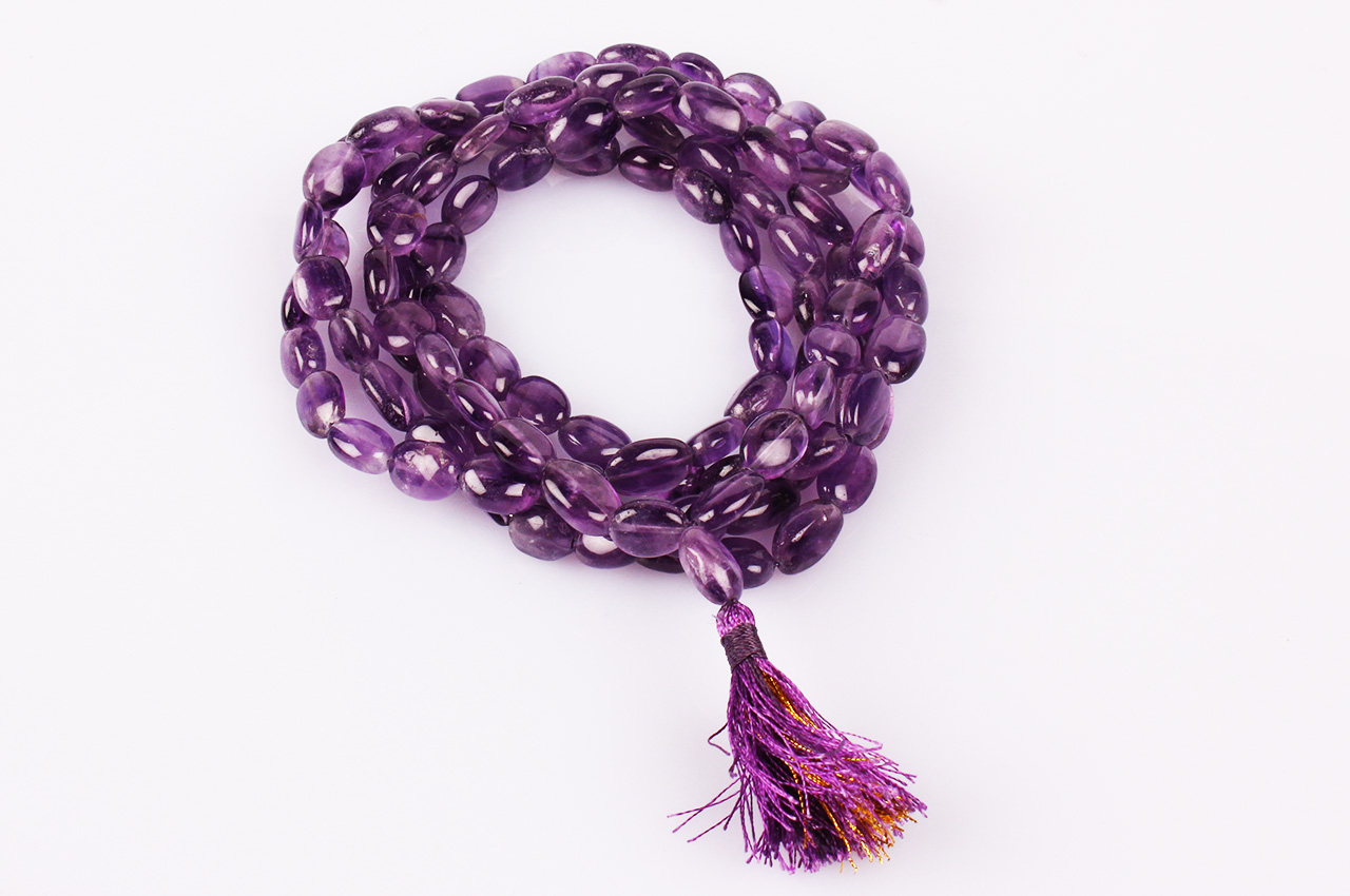 Amethyst oval mala - 12 mm