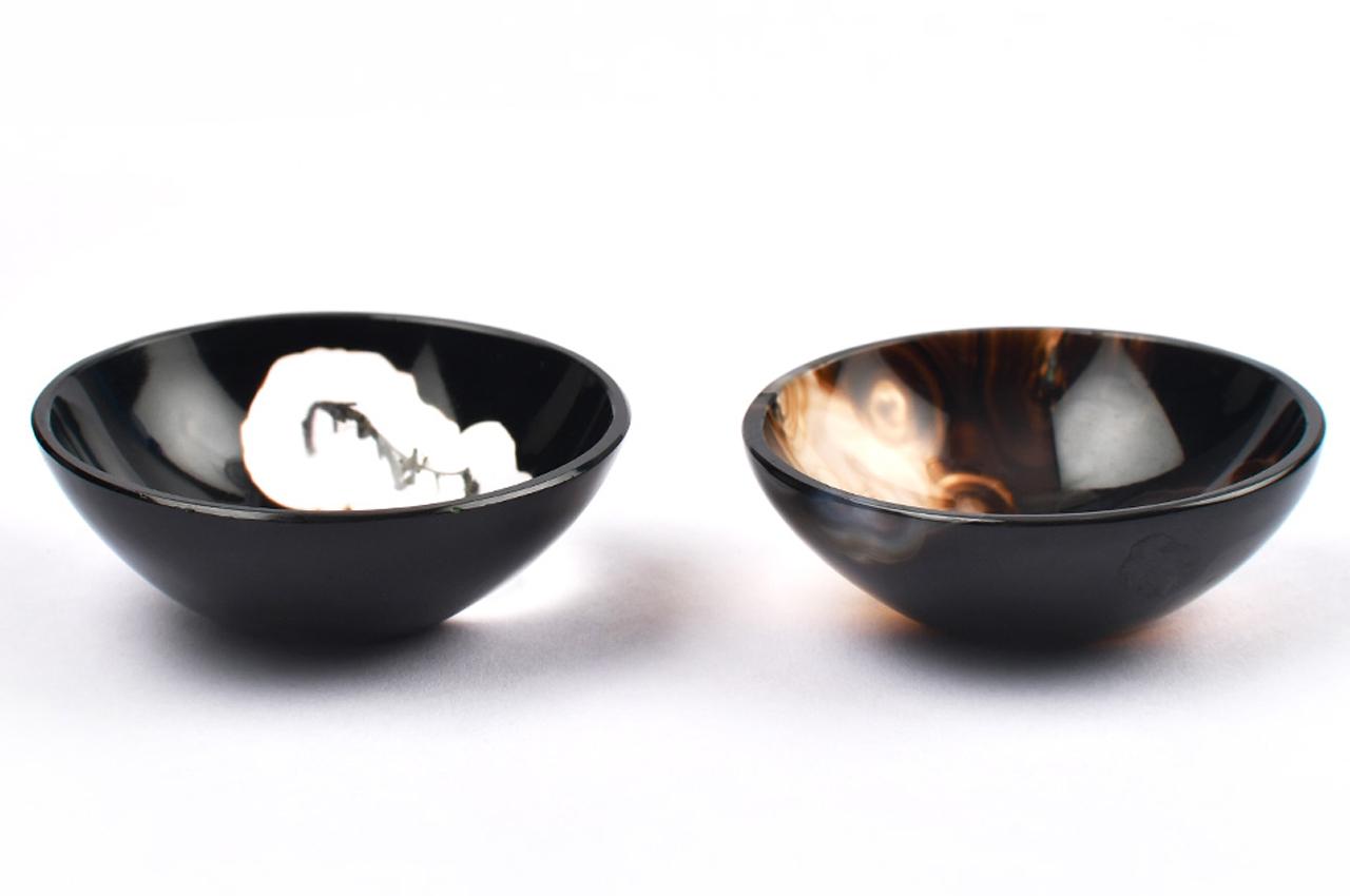 Black Onyx Gemstone Bowl - Set of 2