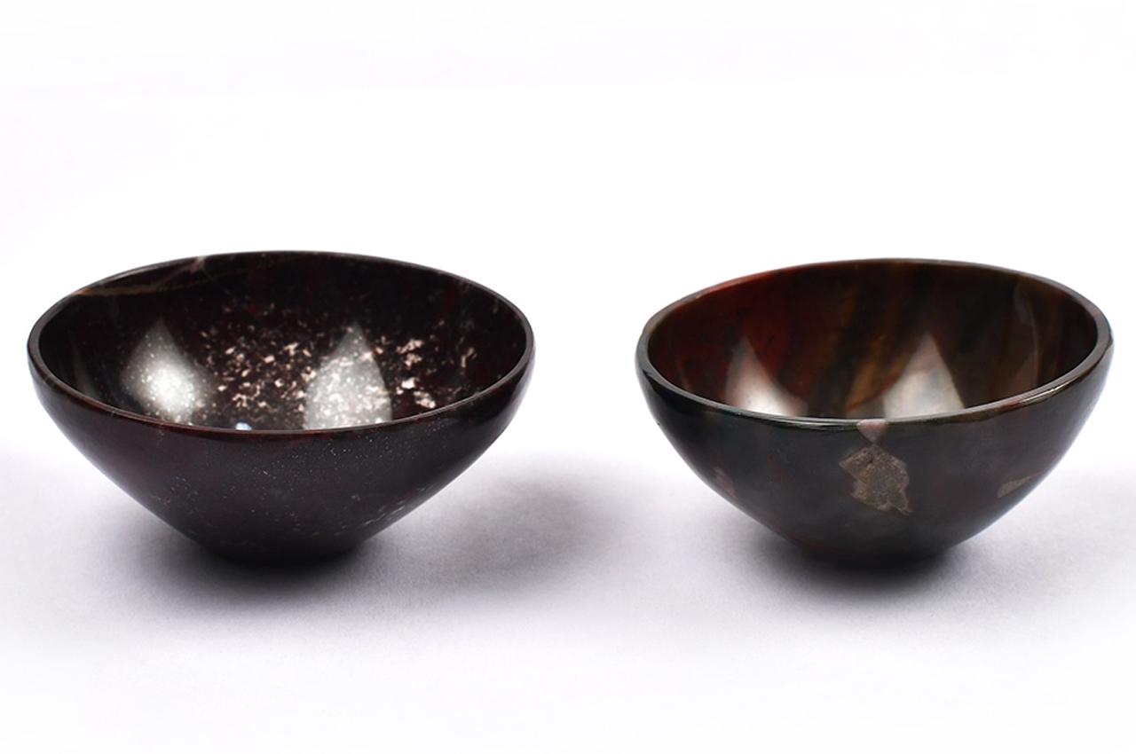 Bloodstone Gemstone Bowls - Set of 2