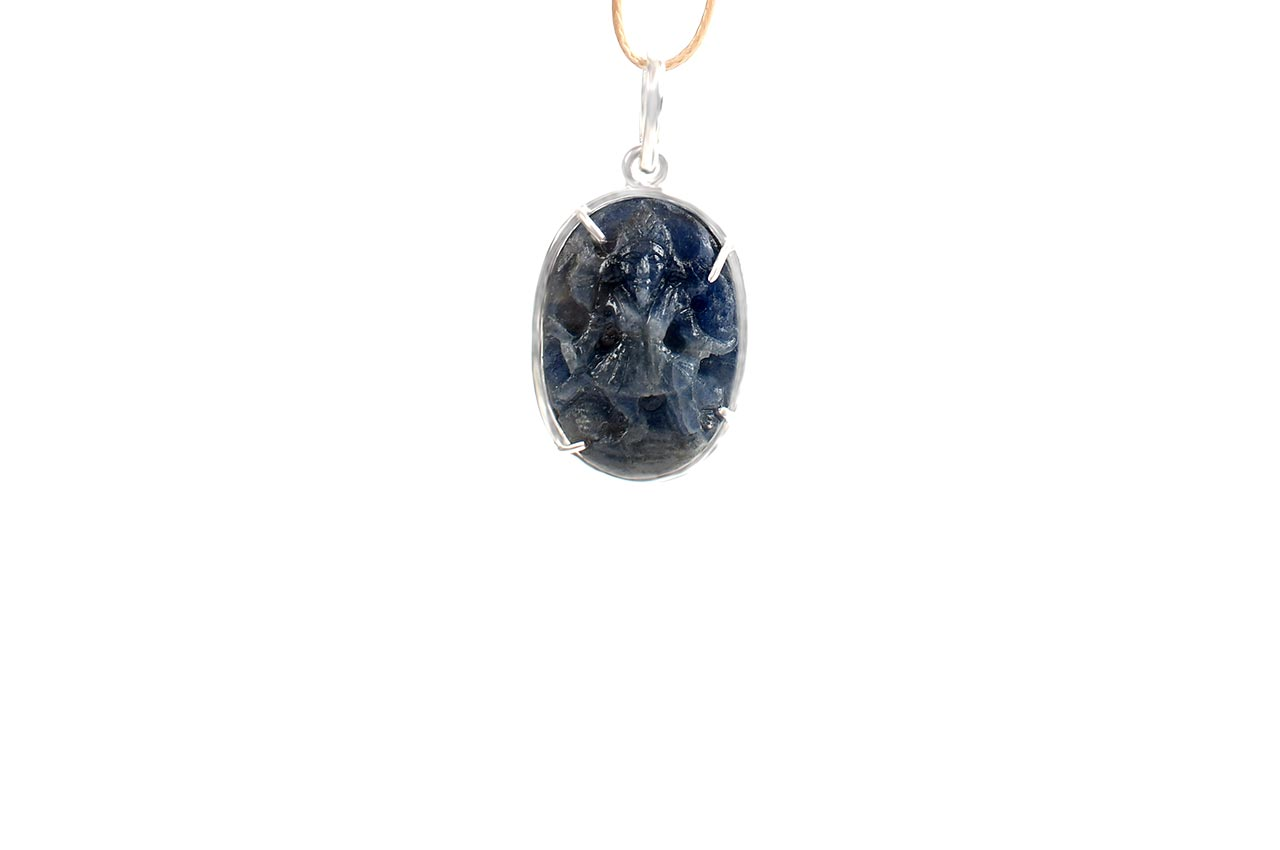 Blue Sapphire Mahakali in silver pendant - II