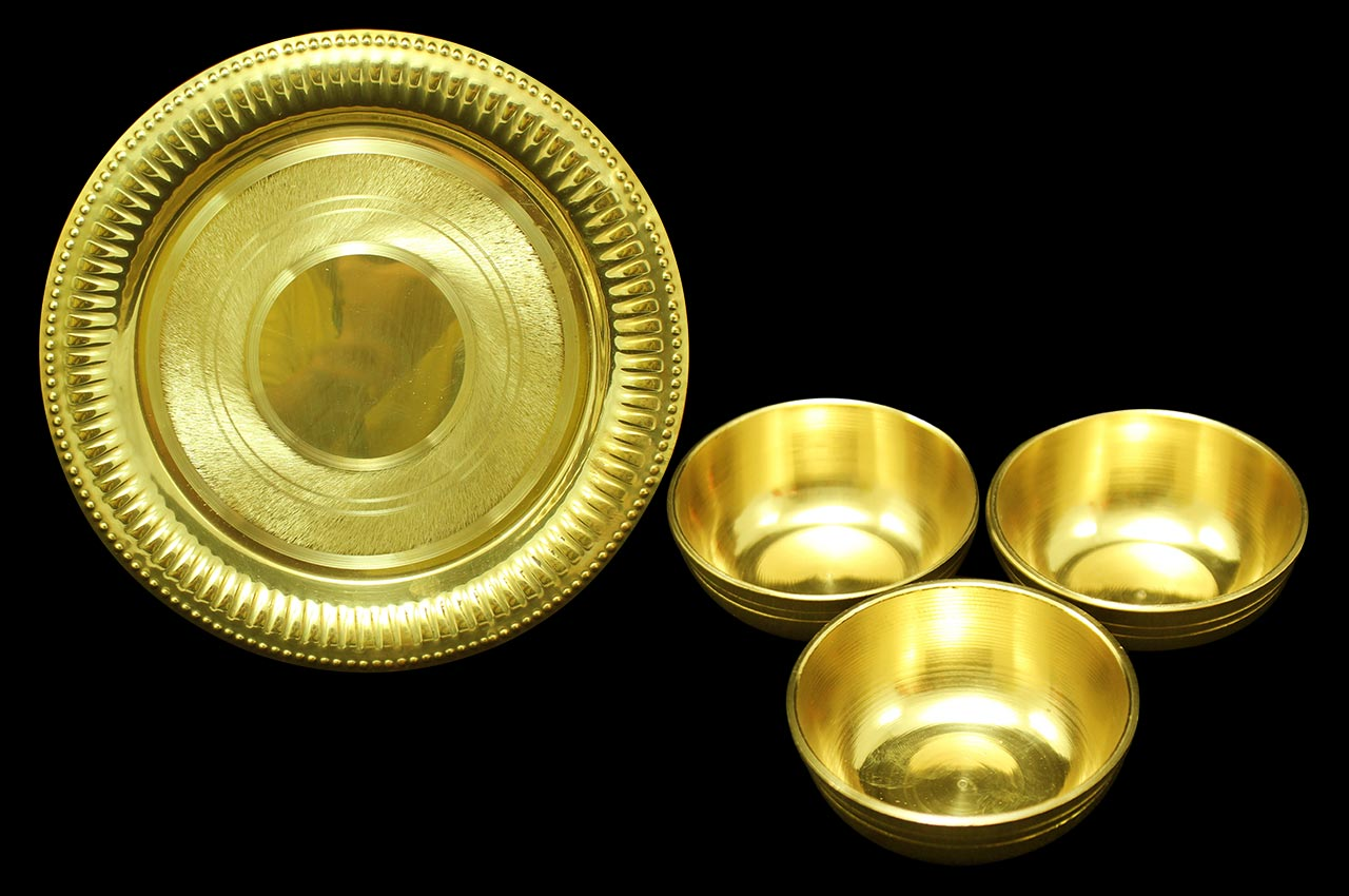 Brass Tray with Small Bowls