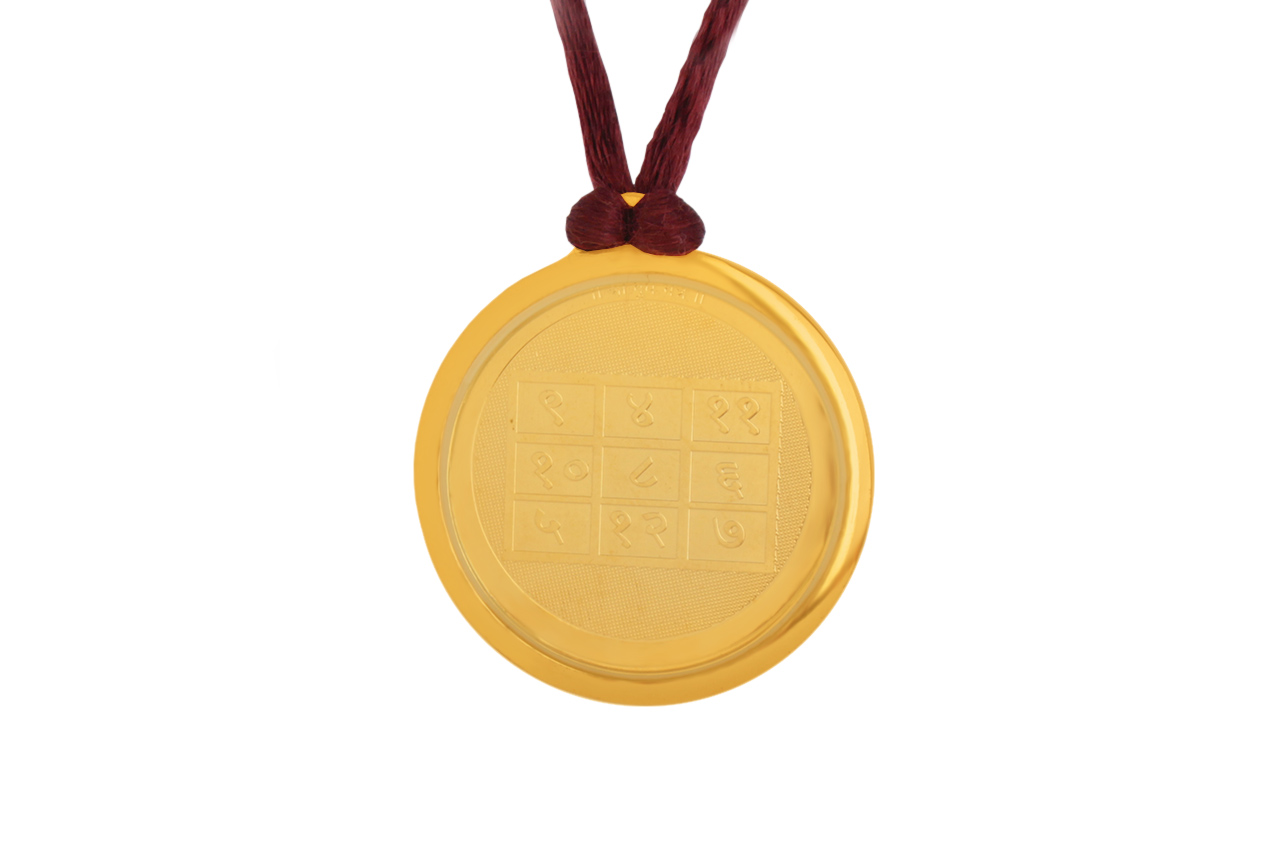 Buddh with Tripur Sundari Devi Yantra Locket - Gold Plated