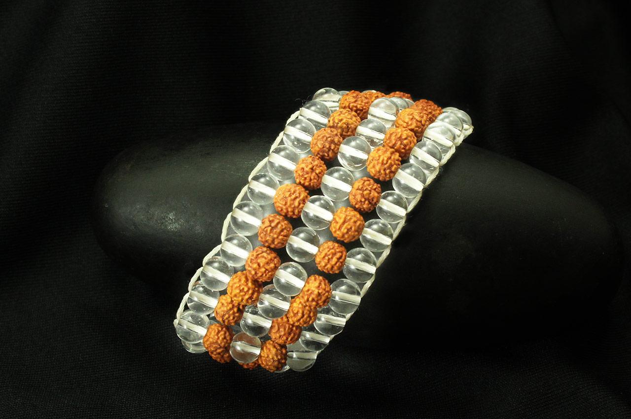 Crystal Rudraksha wrist mala - Design II