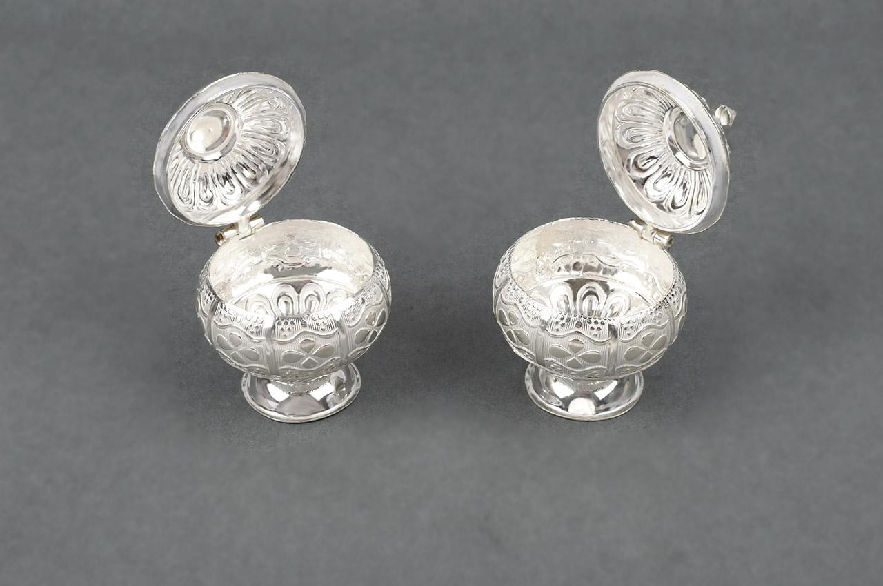 Designer Floral Haldi Kumkum Container in Silver - Set of 2