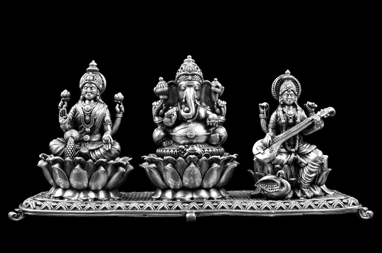 Designer Ganesh Lakshmi Saraswati in pure silver