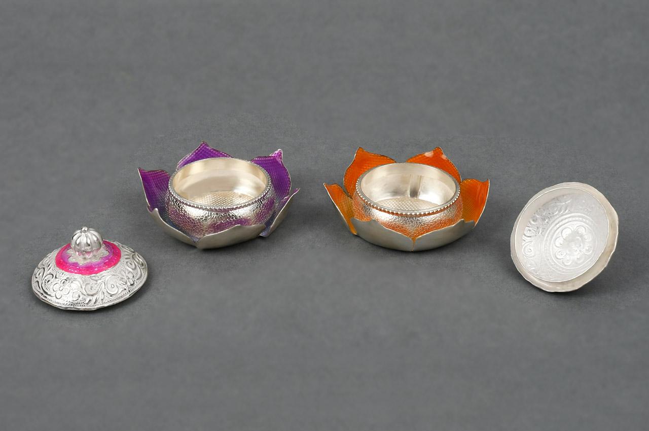 Designer Lotus Haldi Kumkum Container in Silver - Set of 2