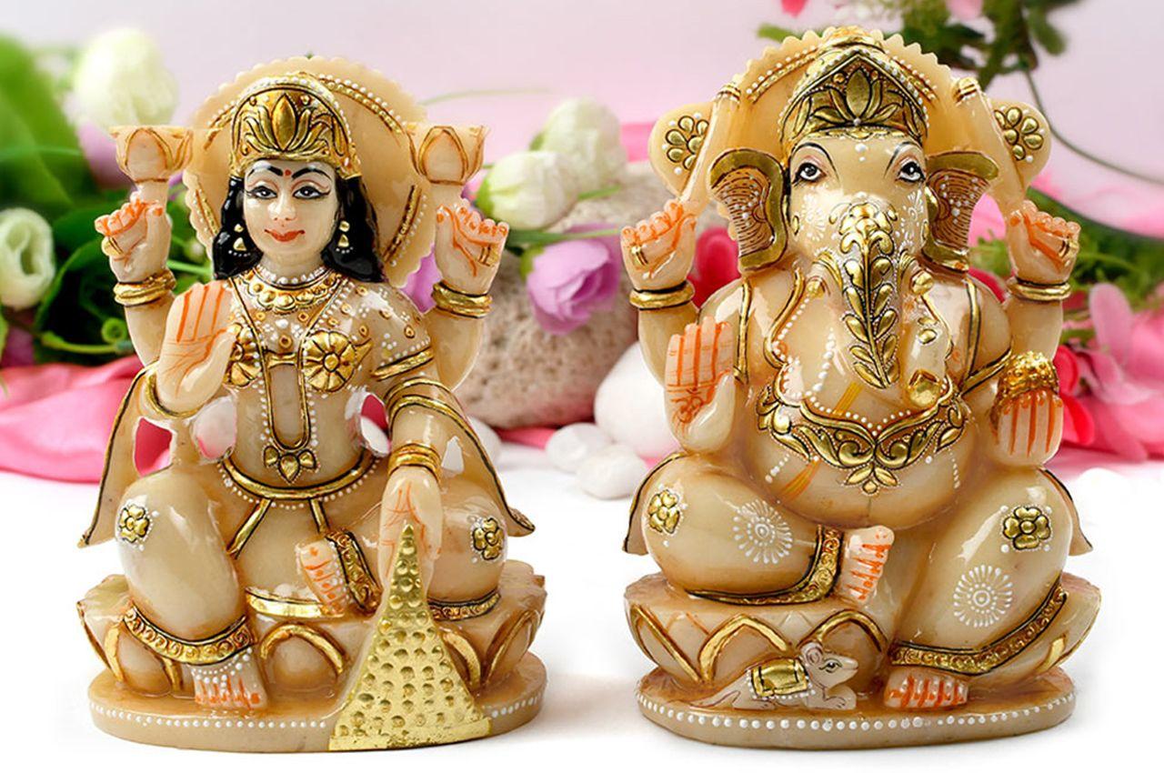Divine Pair Ganesh Laxmi in Ivory Yellow Jade
