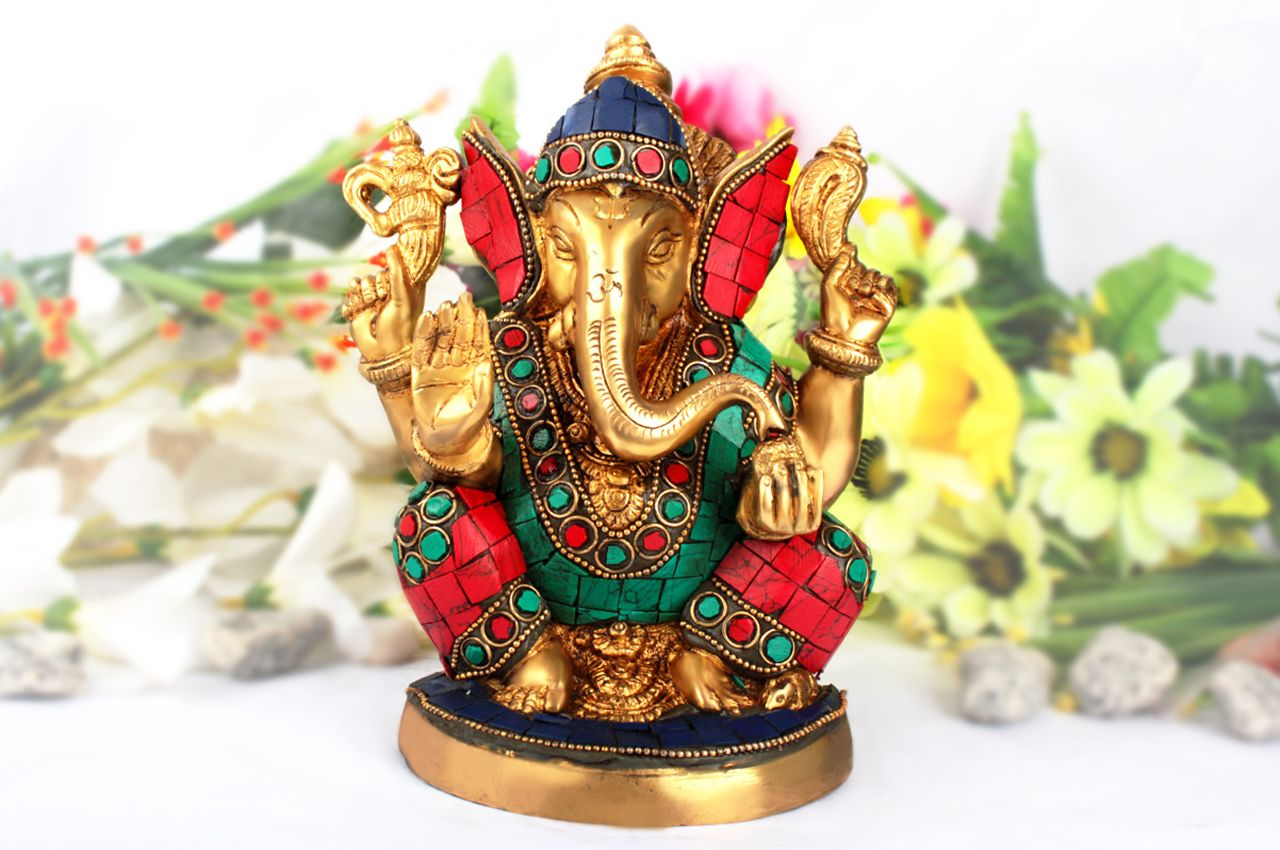 Divya Ganesha Idol with Stone Work - I