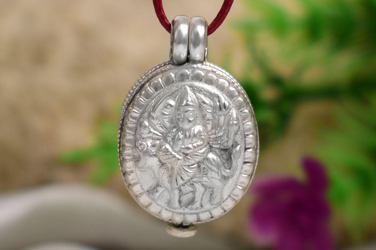Durga Locket in Pure Silver - Design VIII