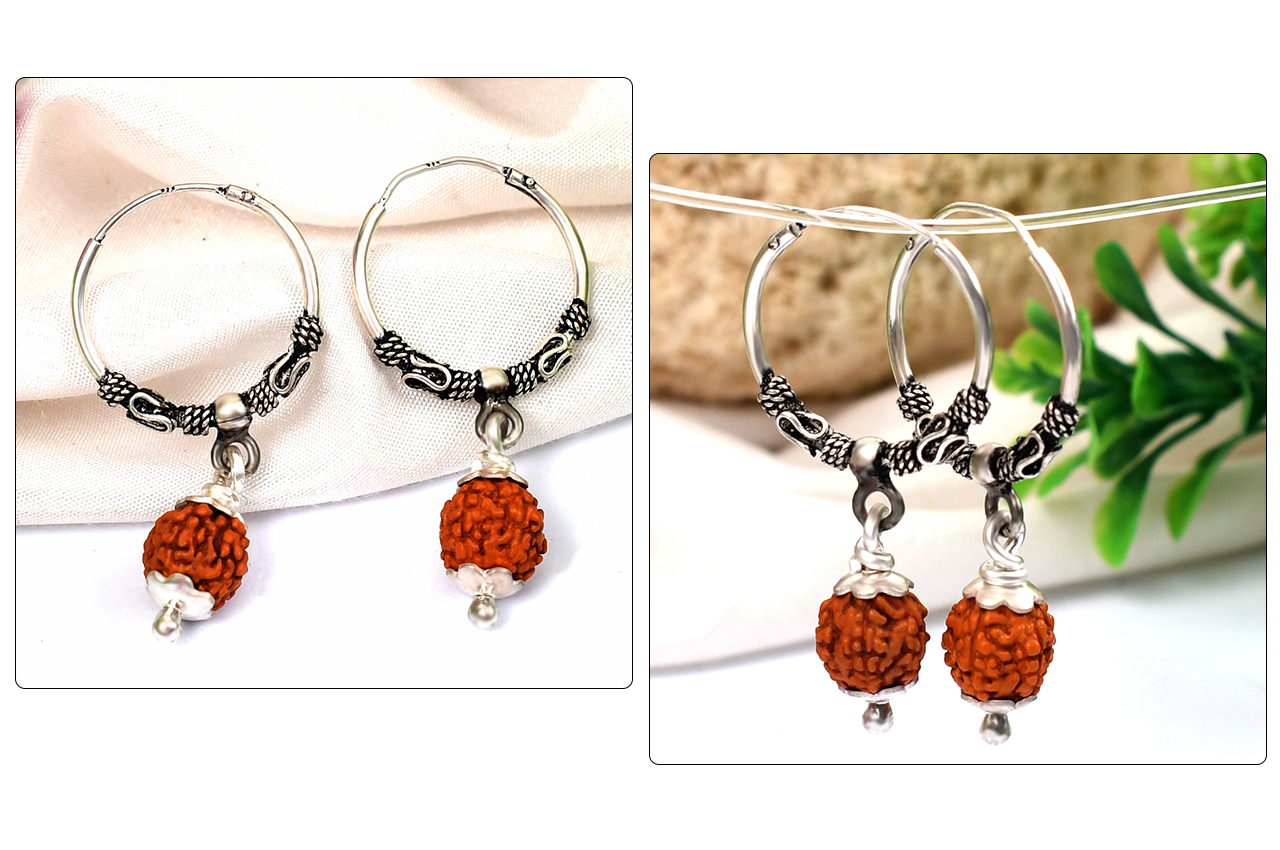 Earrings made of 5 Mukhi Rudraksha Beads