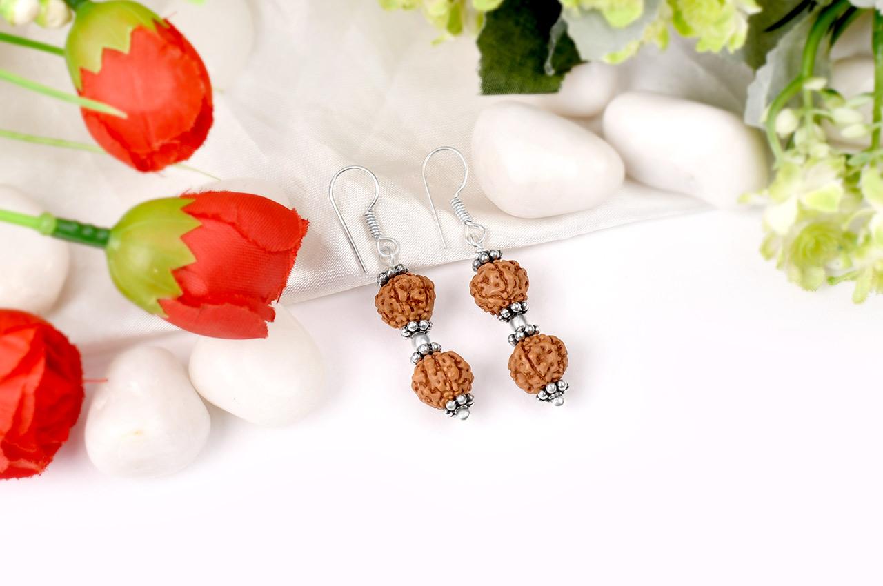 Earrings of Semi chikna Rudraksha Beads - Design I