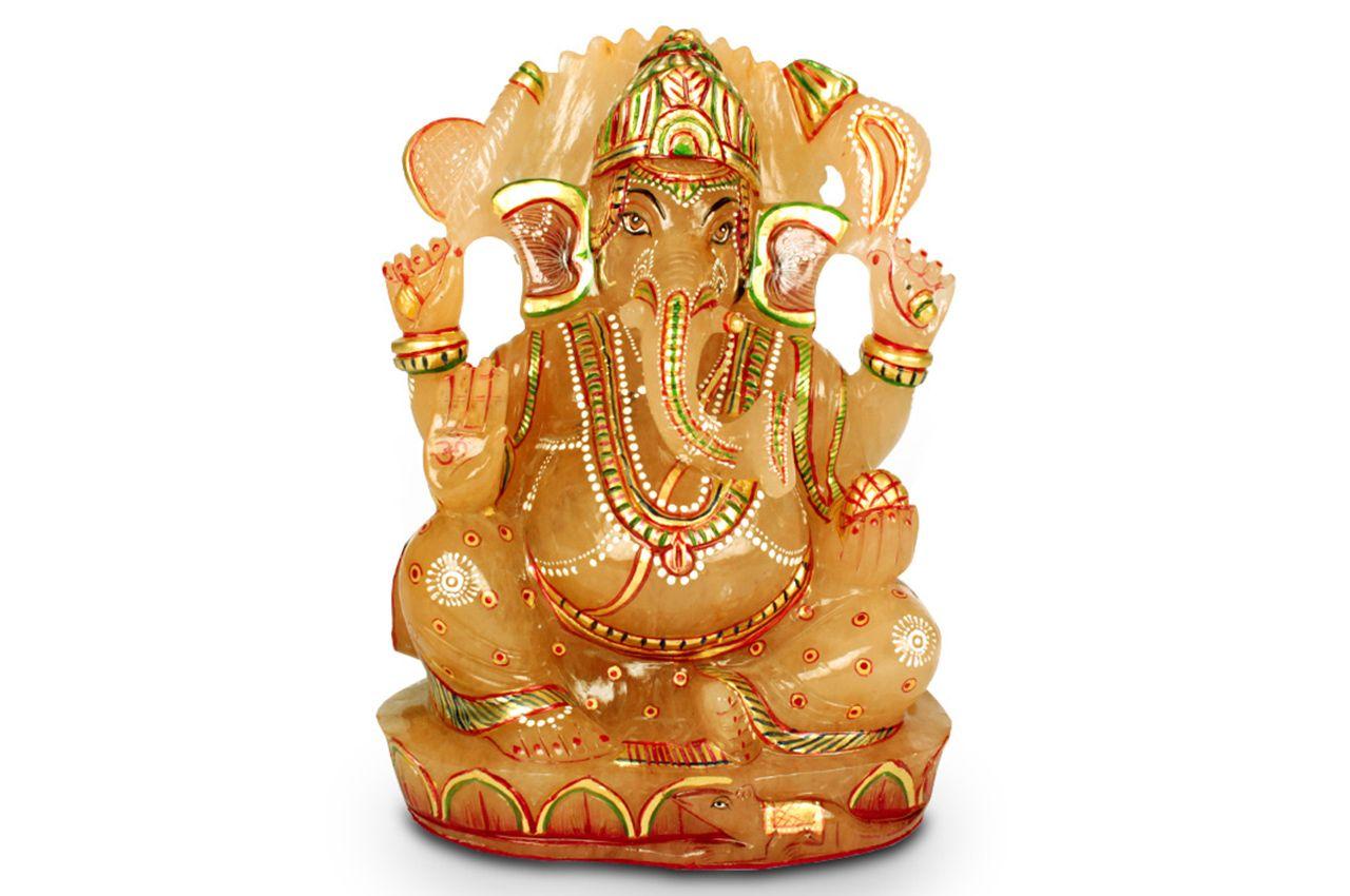 Exotic Ganesh Idol in Yellow Jade - 1118 gms