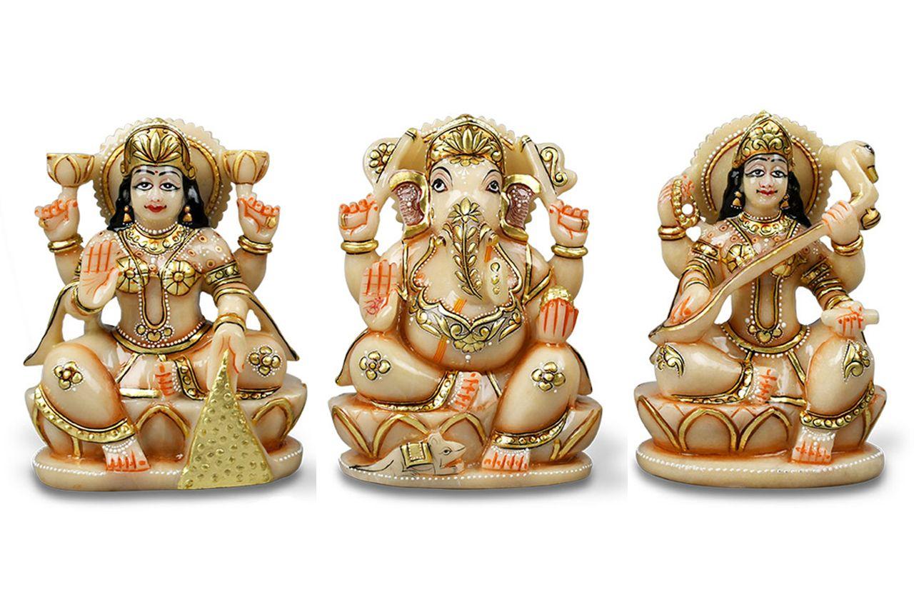 Exotic Laxmi Ganesh Sarawati Idols in Ivory Yellow Jade