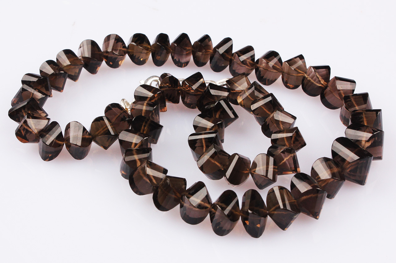 Faceted Smoky quartz beads necklace