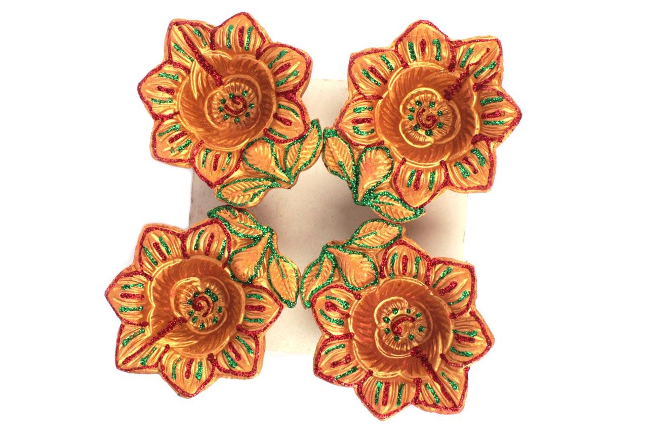 Flower design Diwali Earthen Diyas - Set of 4