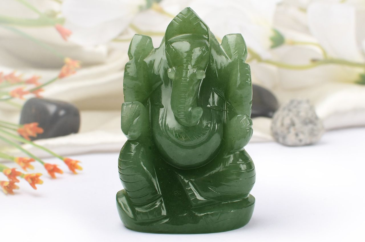 Ganesha in Light Green Jade - 160 gms