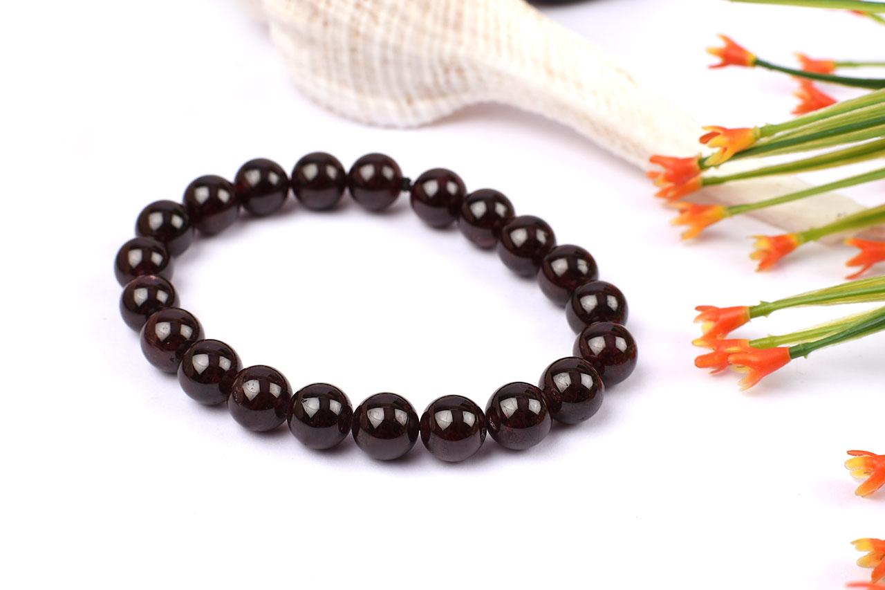 Garnet Round Bracelet - 10 mm
