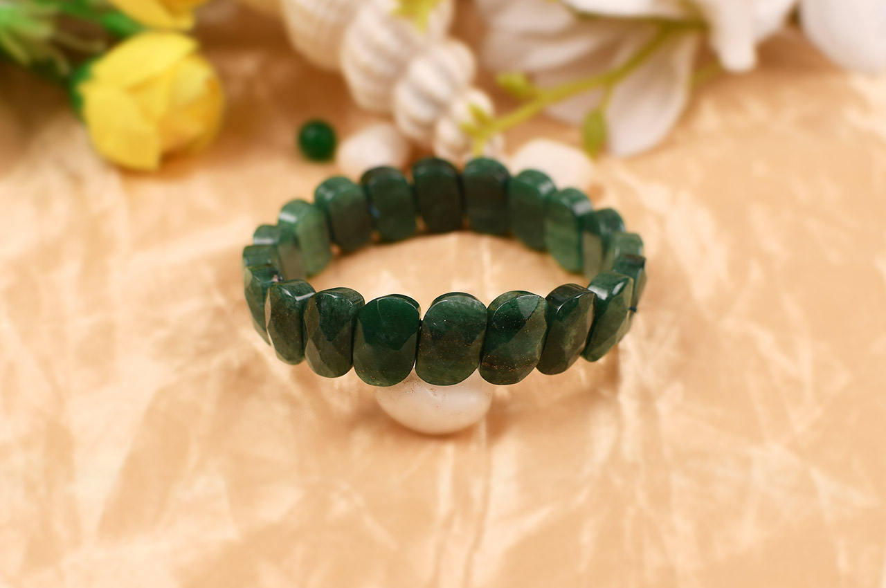 Green Jade Faceted Bracelet - II