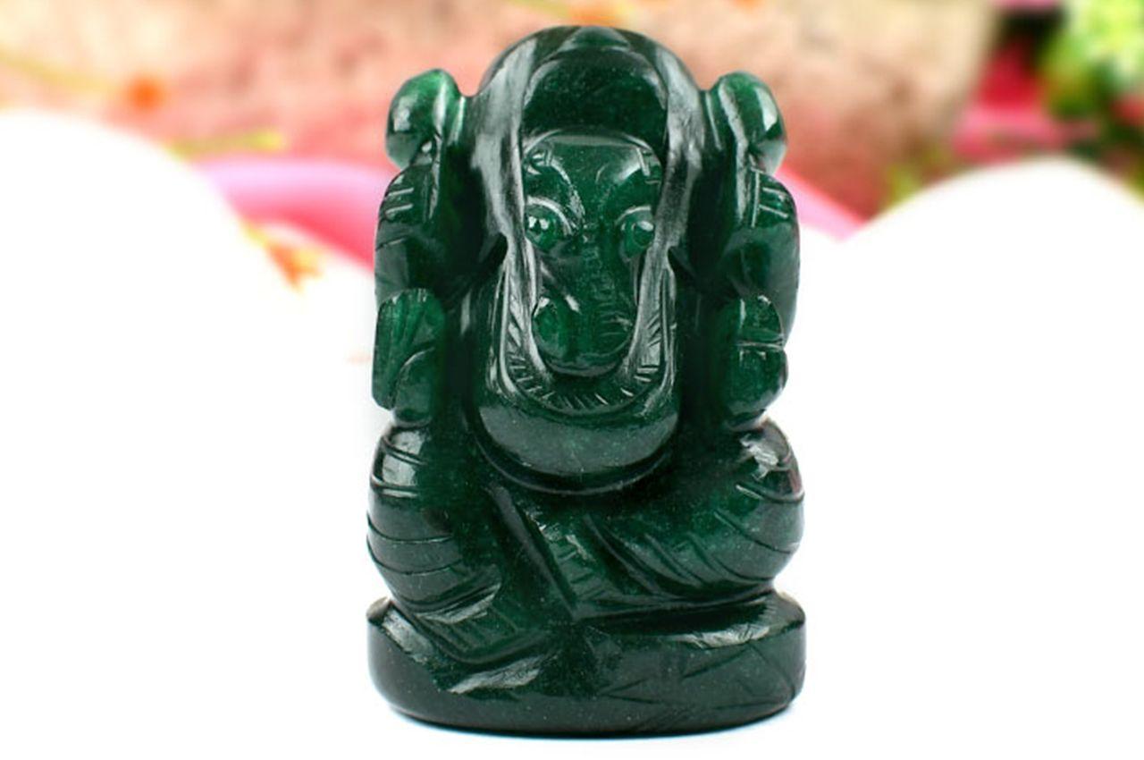 Green Jade Ganesha-Right Trunk-112 gms