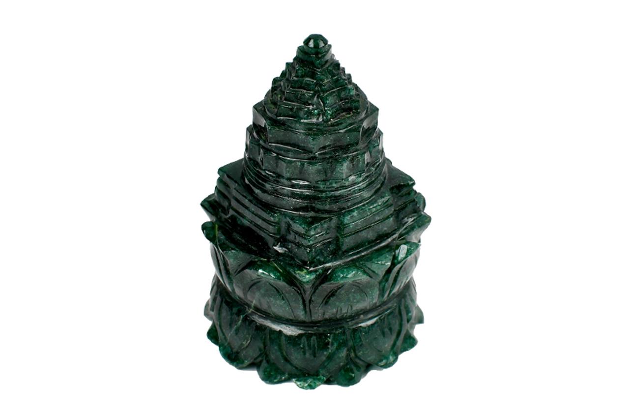 Green Jade Shree Yantra on Lotus