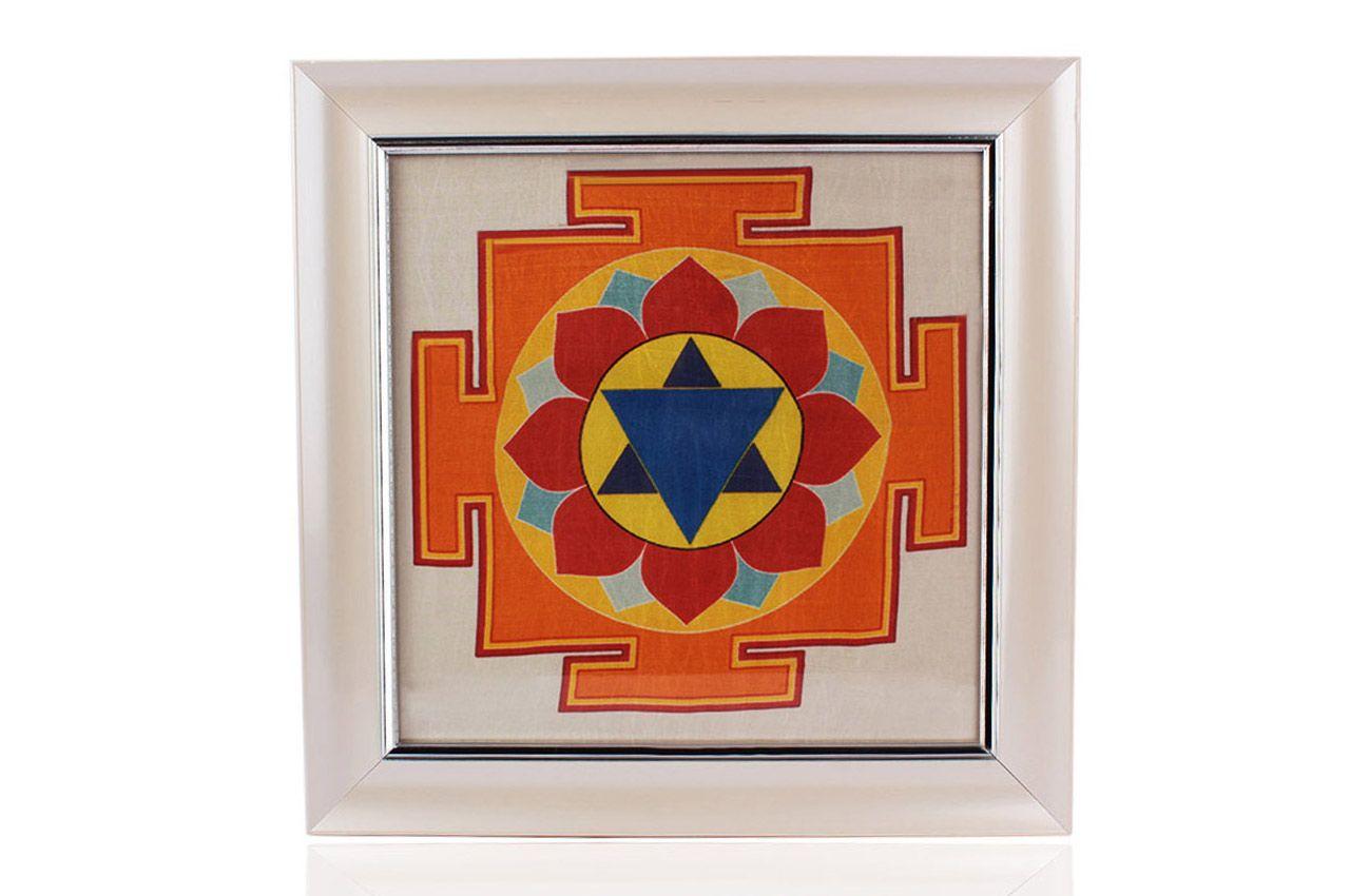 Krishna Yantra on silk with frame