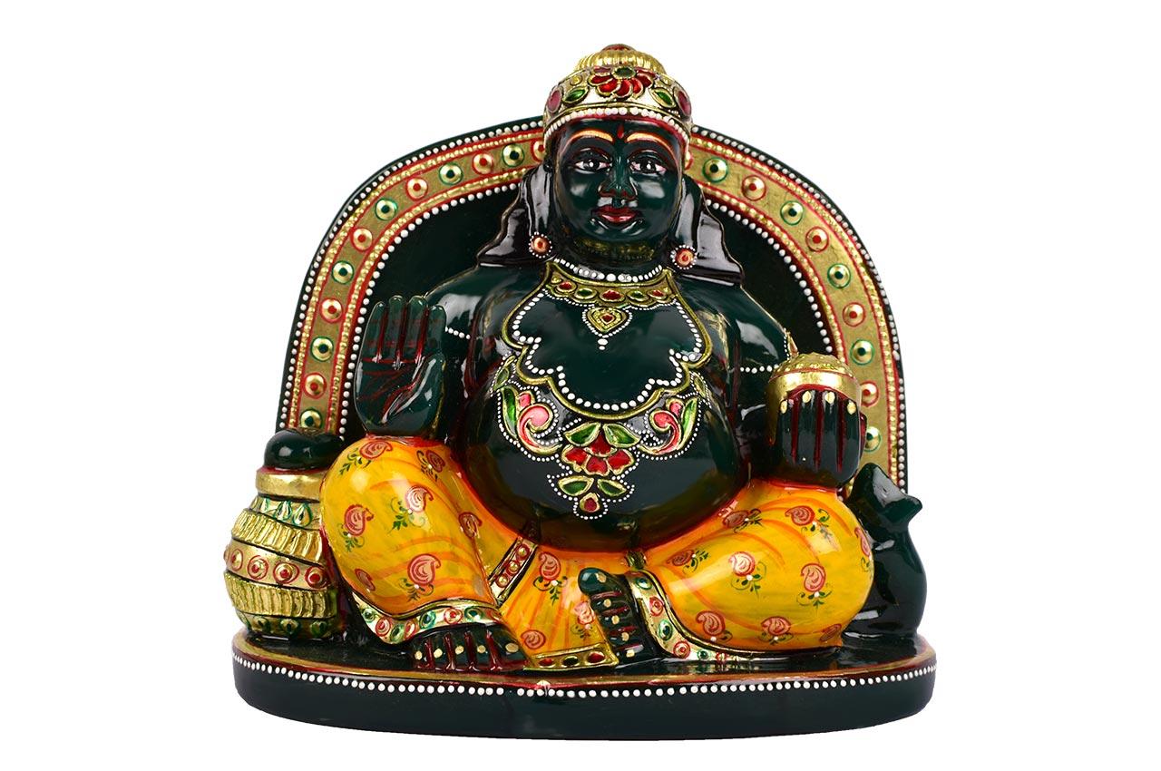 Kuber Maharaj Murti in green Jade - 1635 gms