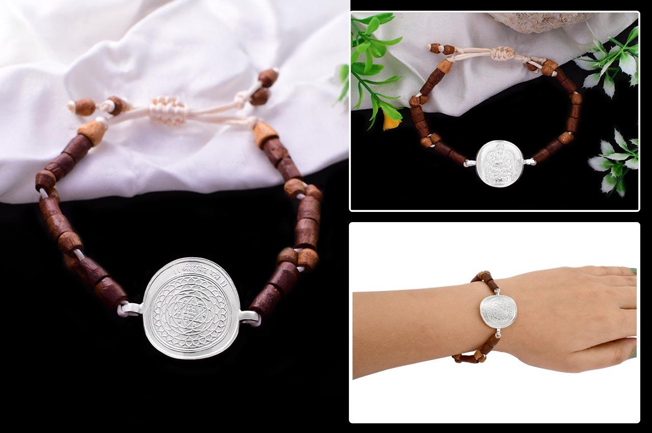Kuber Yantra in Silver Bracelet