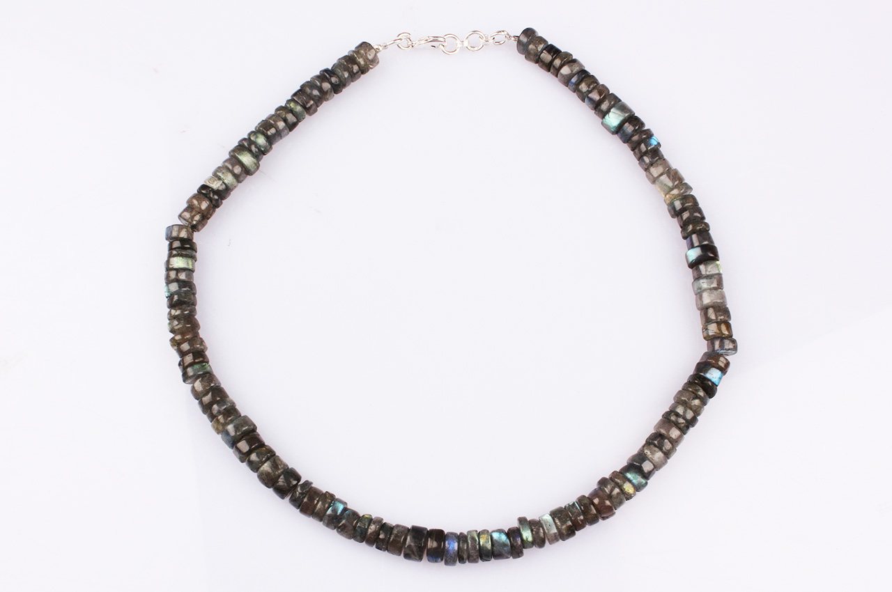 Labradorite Neckalce - Washer shape beads - 8 mm