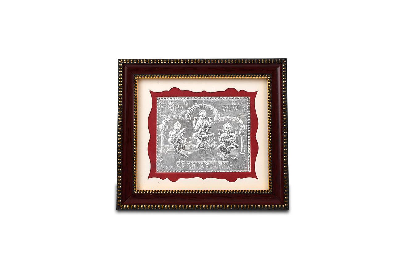 Lakshmi Ganesh Saraswati in silver