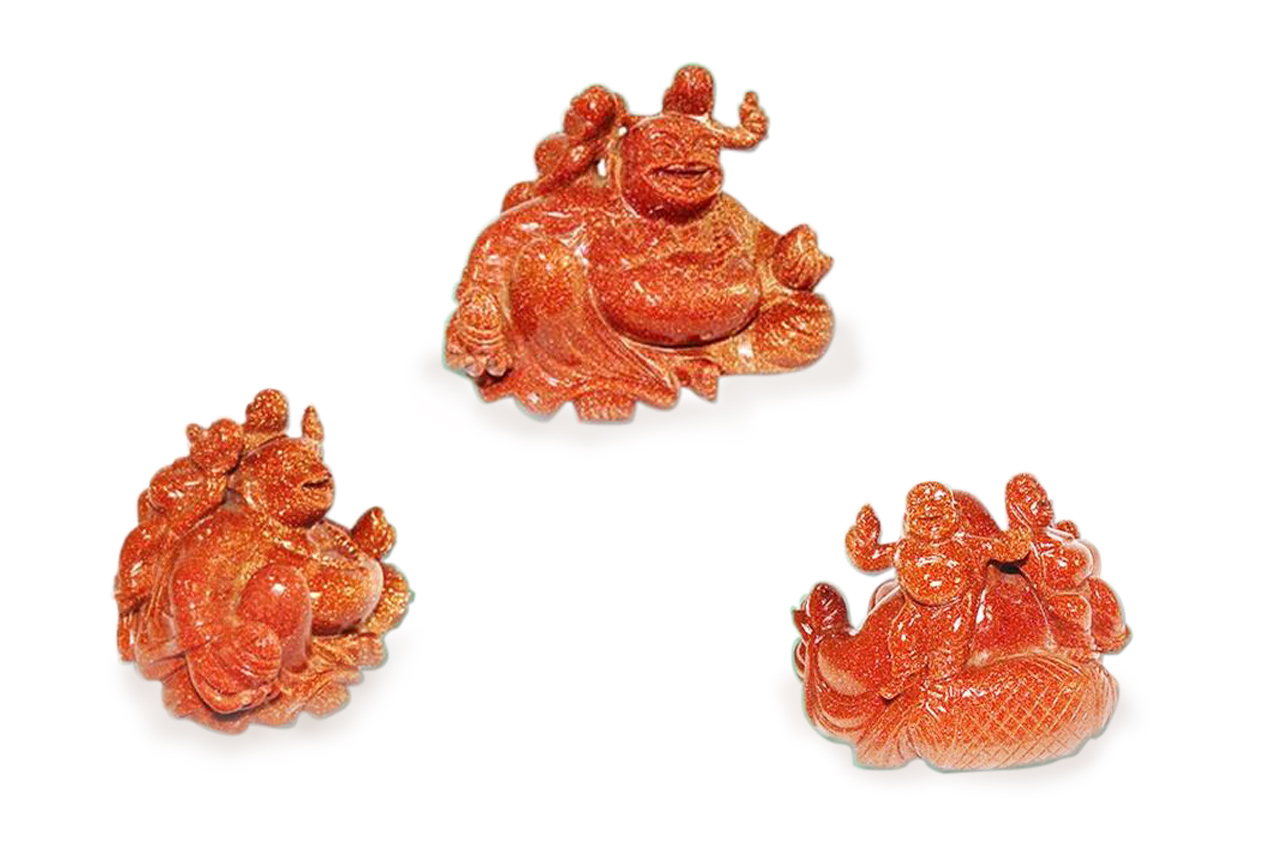 Laughing Buddha in natural  Sunstone