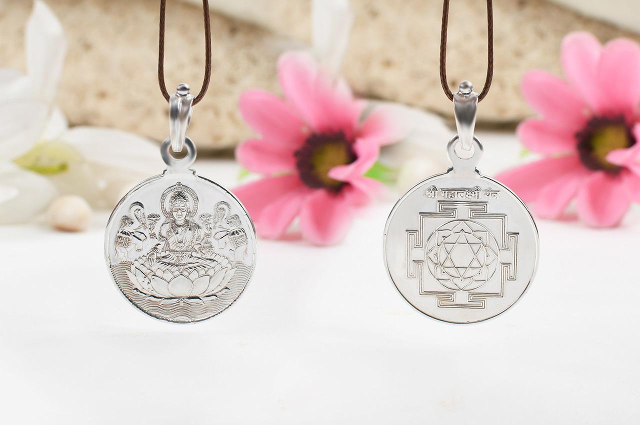 Mahalakshmi Yantra Locket - Silver - Medium