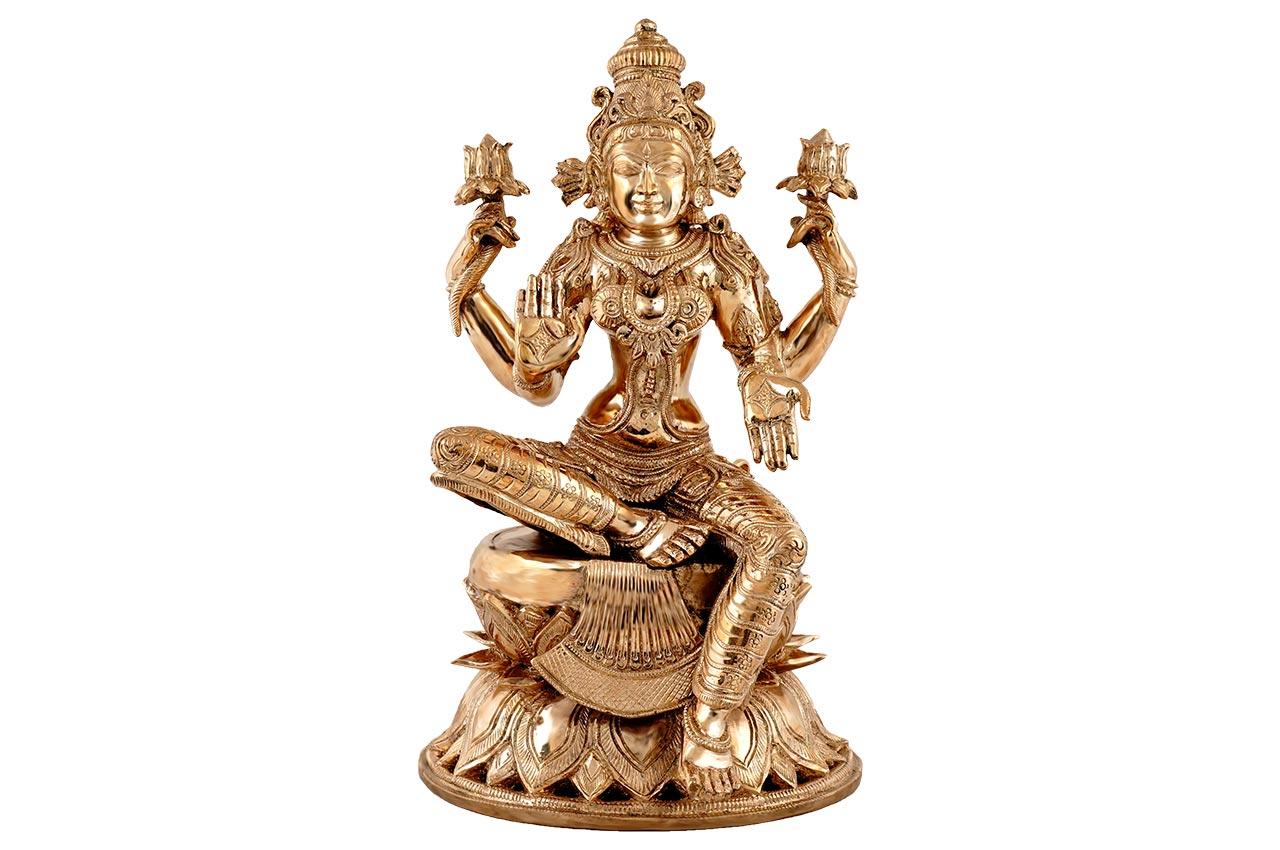 Majestic Mahalaxmi idol in bronze