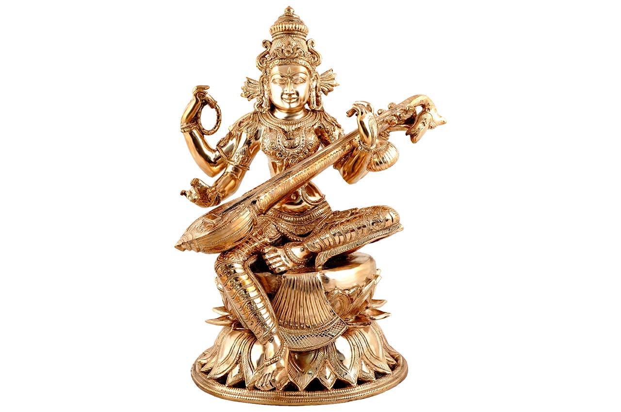 Majestic Maha Saraswati idol in bronze
