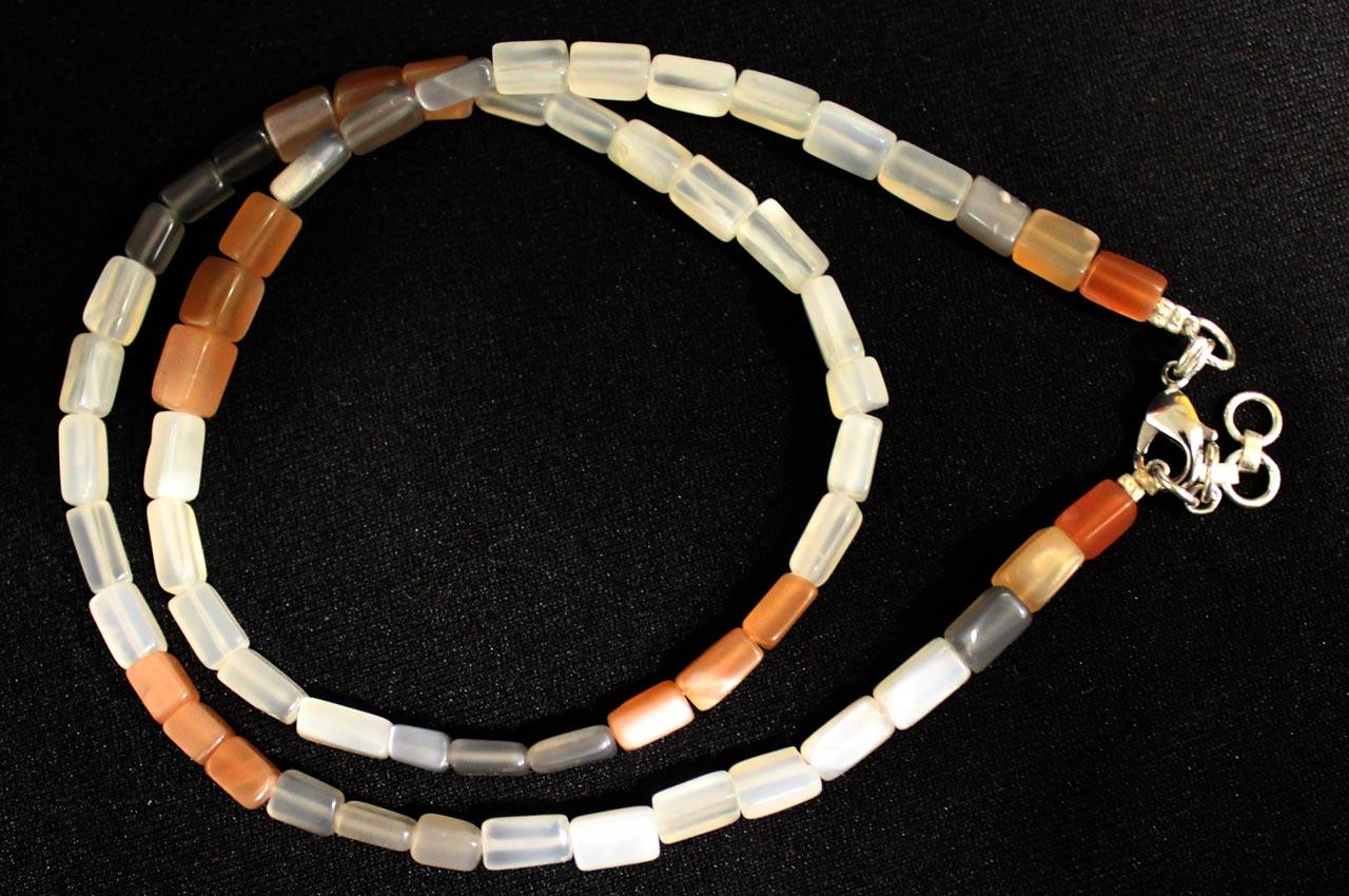 Moonstone multicolor mala - rectangle shaped