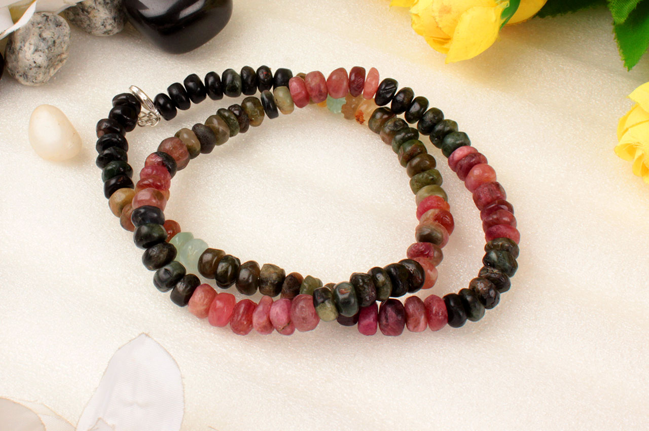 Multi Tourmaline Mala - Elliptical Beads