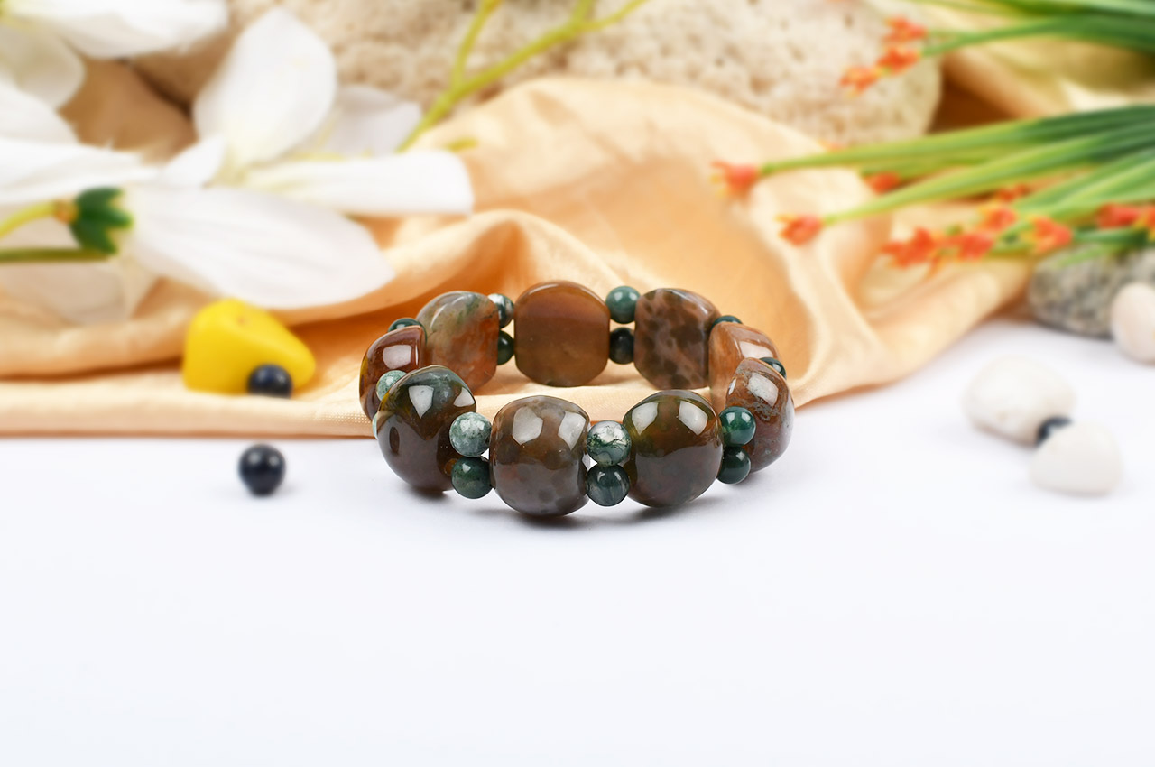 Multicolor Jasper Bracelet - Cushion Round beads