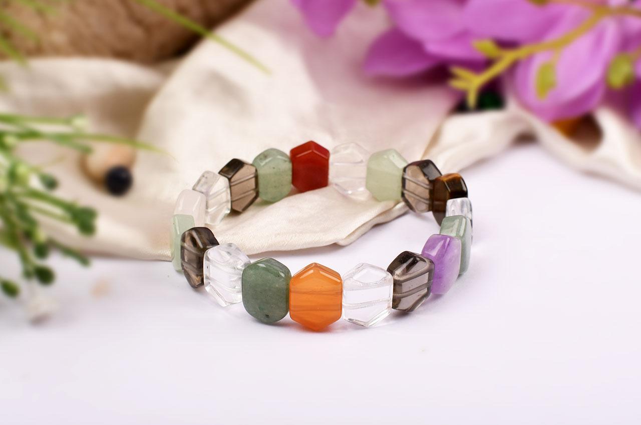 Navratna Bracelet - Hexagon Beads