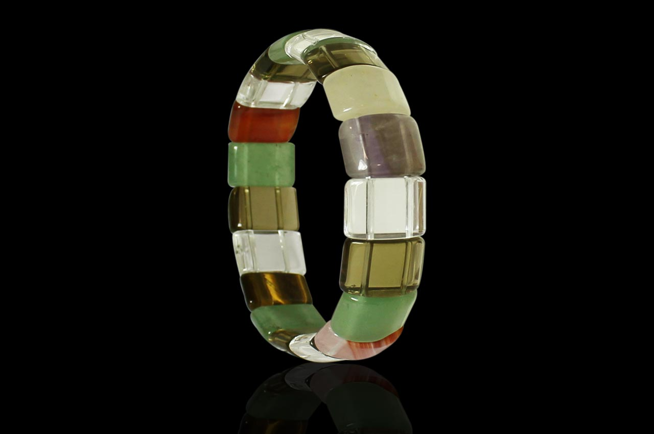 Navratna Gemstone  Bracelet - Rectangular beads