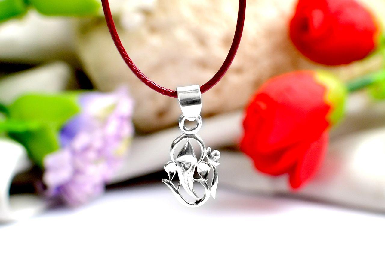 OM Ganesh Locket in Pure Silver - IV