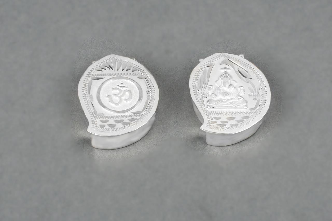 Om Ganesha Haldi Kumkum Container in Silver - Set of 2