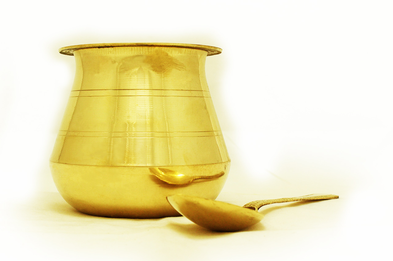 Panchapatra - brass