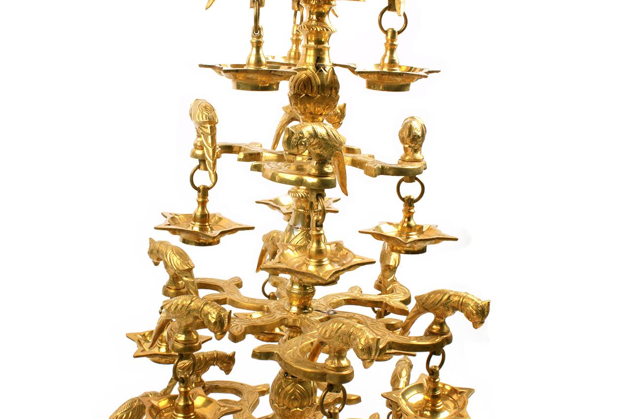 Parrot multiple oil lamp in brass
