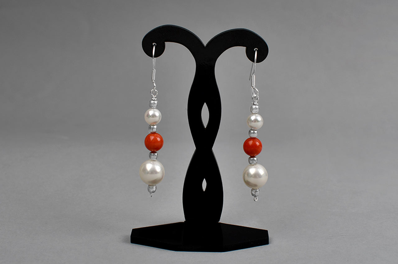 Pearl and Coral bead Earrings - II