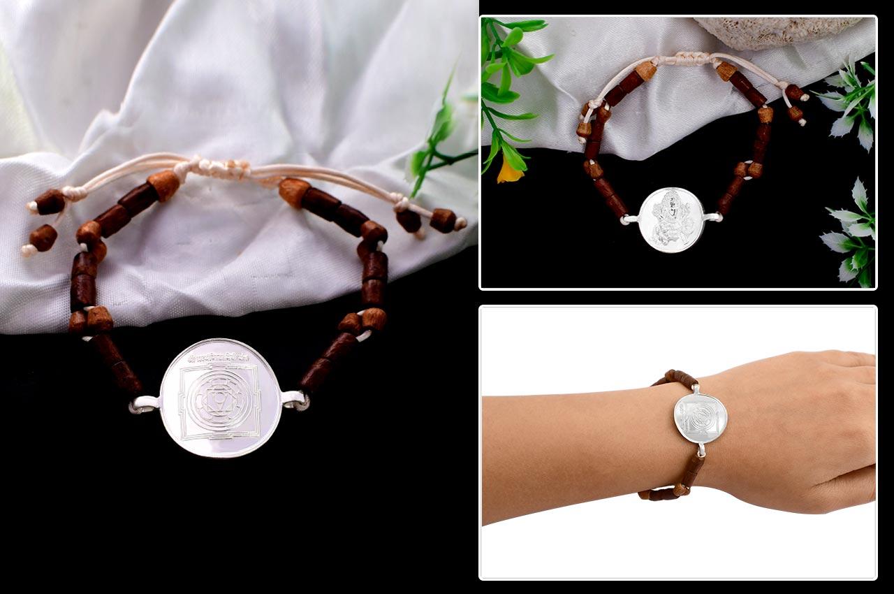 Pratyangira Yantra in Silver Bracelet
