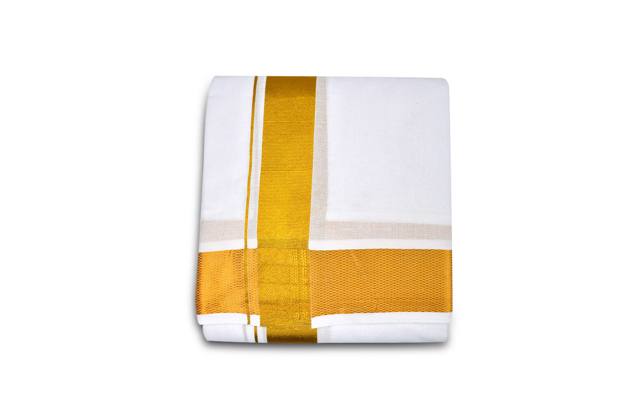 Puja Dhoti with Shawl - Rich Cotton - Golden Border