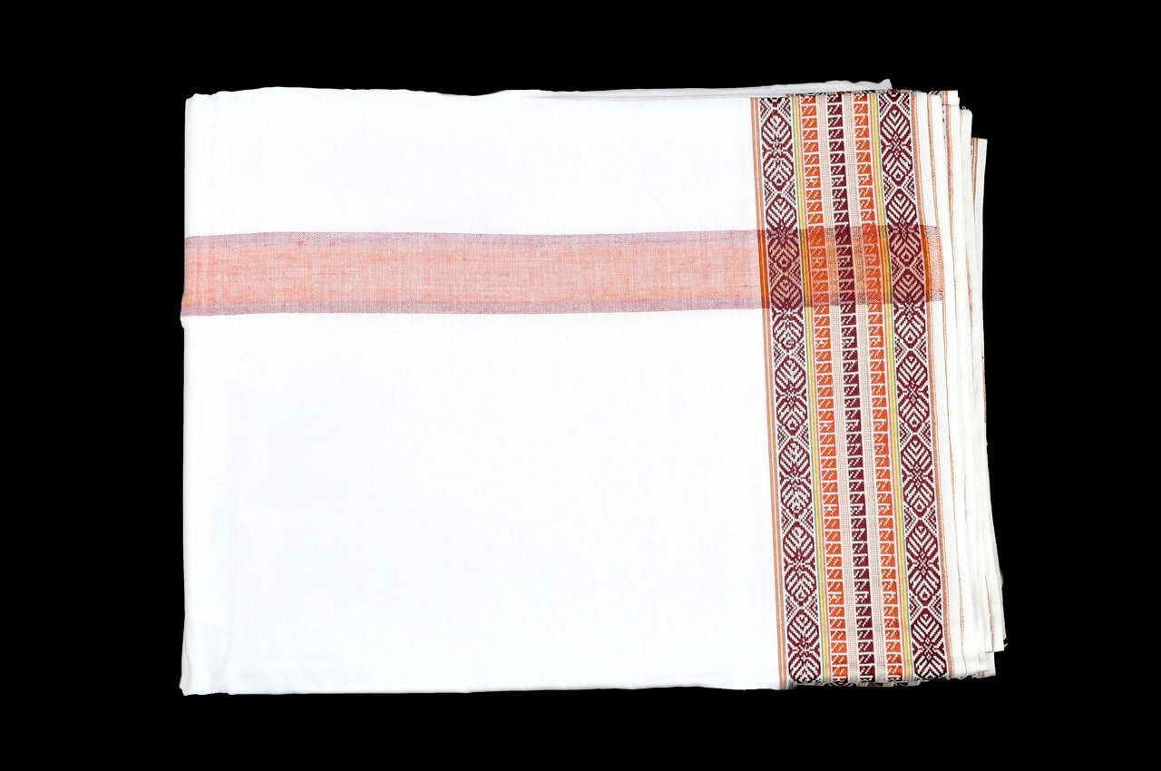 Puja Dhoti with Shawl - Rich Cotton - Yellow Maroon