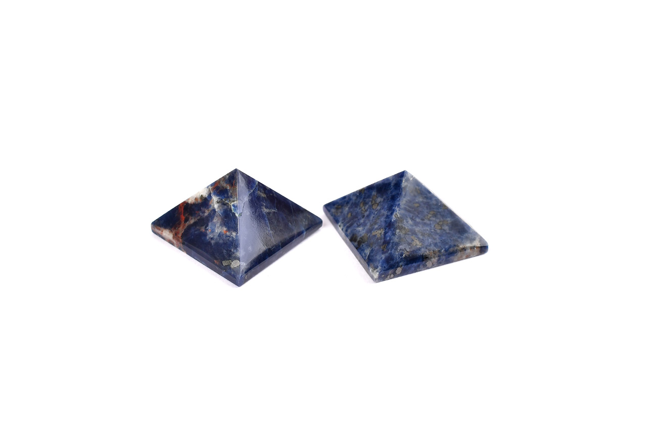 Pyramid in Blue Sodalite - Communication and creativity - Set of 2 - 24 gms