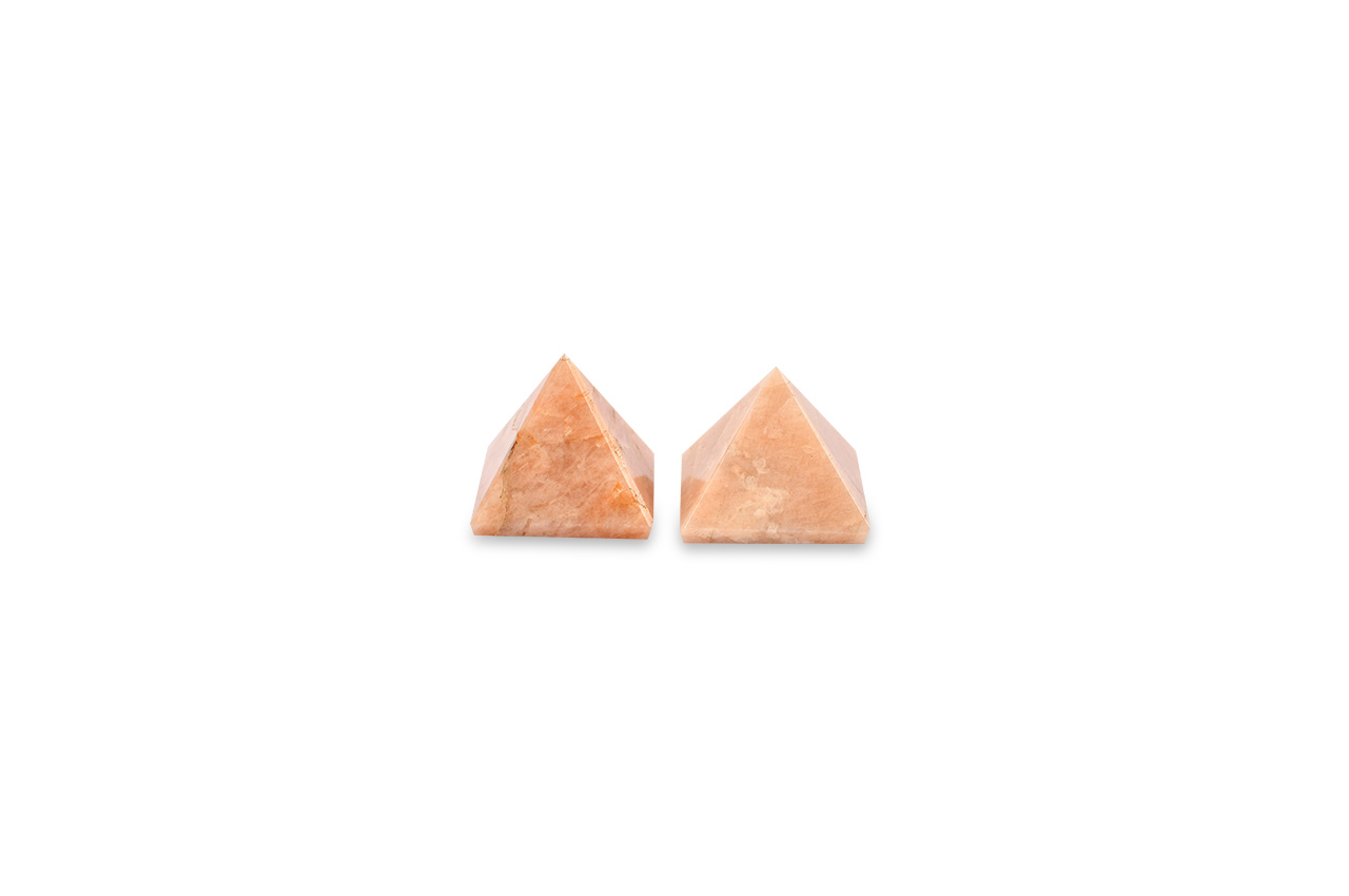 Pyramid in Natural Orange Jade - Set of 2 - 22 gms