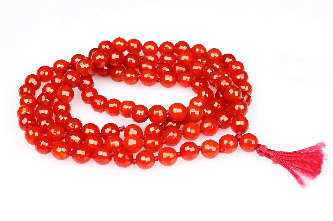 Red carnelian - faceted - 6mm