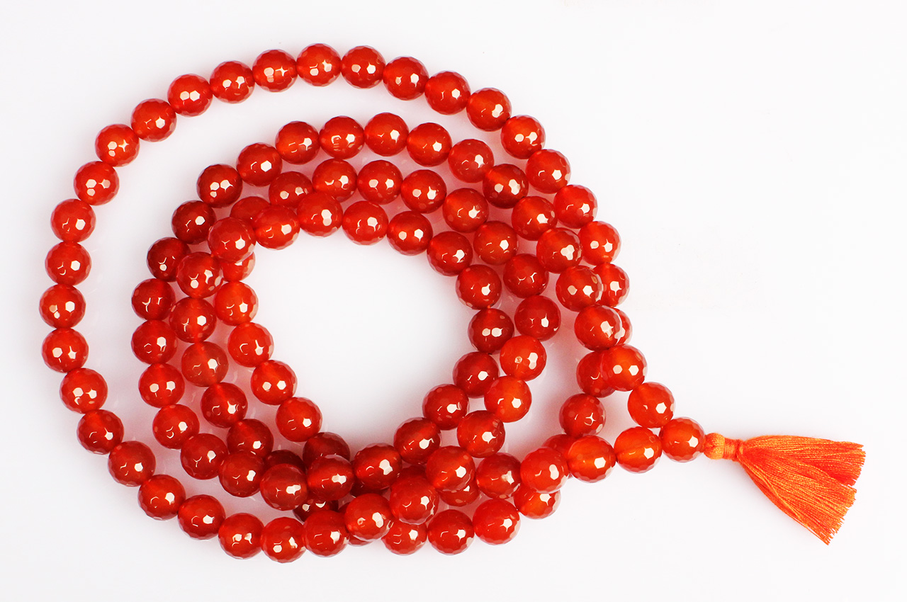 Red carnelian faceted mala - 10mm